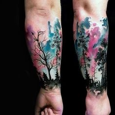 dark-trees-and-watercolor-tree-tattoo-male-forearms.jpg (564×564)