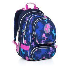 Plecak szkolny CHI 803 D - Blue dla miłośniczek koni.