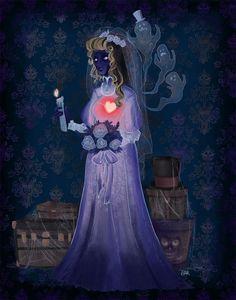Fan art of the classic/original bride of Disneyland's Haunted Mansion. Bride in the Attic 1 Run Disney, Disney Fan Art, Disney Love, Dark Disney, Disney Stuff, Spooky Scary, Spooky Halloween, Disney Halloween, Bride Tumblr