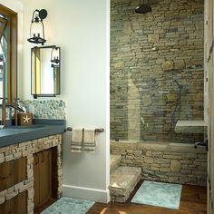 Stone Shower #Bathrooms #Design #DougBurdge