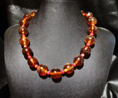 Baltic Amber and Coral Necklace Vintage by ElegantArtifacts, $425.00