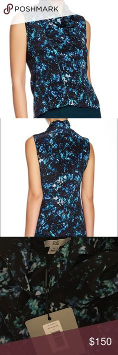 """NWT Zac Posen Celestial Multi Shaye Silk Blouse NWT Zac Posen Celestial Multi Shaye Silk Blouse A stunning silk cowl neck blouse for work or a night out. - Celestial Multi print - Sleeveless - Exposed seam detail - Hi-lo hem - Stock photos courtesy of Nordstrom Rack website. - Size 10. Approx. 22"""" shortest length, 24"""" longest length. 19"""" armpit to armpit, laying flat. 18"""" across waist, laying flat. - Made in USA  Shell: 100% printed silk Lining: 100% polyester Dry clean only  Brand new with…"""