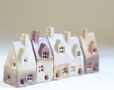 Ceramics and pottery 5 little houses, shelf village, English souvenir House warming present. Fiona Findlay Ceramics UK sellers only. UK shop