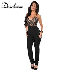 Combinaison women summer overalls for ladies rompers Lace Top Cross Straps Backless bodycon jumpsuit Plus size M-XL LC6307