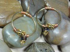 EARRINGS   Dragonfly Purple Bead Copper Wire by EVERCHICJEWELRY, $16.00