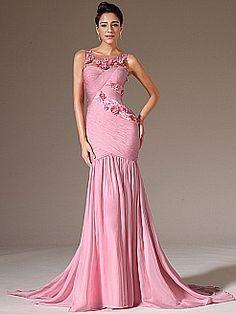 Sleeveless Chiffon Mermaid Prom Dress with Rosettes - USD $168.98