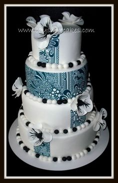 Black and white paisley 4-tier wedding cake by dellboi2u on Cake Central