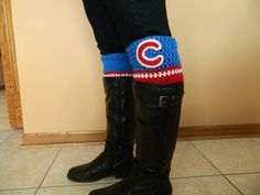 Crochet Chicago Cubs inspired boot cuffs by ChristasCreations13