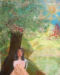 Giclee Mixed Media Art Print of a Girl Sitting under a Tree in a Field Original Acrylic Painting of a Woman Inspirational Art with Lace