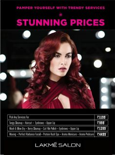 #Lakme_Salon_Ludhiana #lakme #lakmesalonldh #Makeup #makeover #instamakeup #cosmetics #TFlers #fashion  Pamper yourself with stunningly low prices.  Pick any service you like for Rs 1199. Go for tangy cleanup+ eyebrows+ upper lip+ haircut for Rs 999. The wash and blow dry+ berry cleanup + cut file polish + eyebrows + upper lip is for Rs 1399. Waxing + Perfect Radiance Facial + Protein Rush Spa + Aroma manicure + Aroma pedicure for Rs 4499. contact us on :- +91 98885-06797 Wash And Blow Dry, Makeup Makeover, Spa Offers, Upper Lip, Insta Makeup, Pedicure, Cutting Files, Eyebrows, Salons