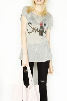 Lauren Moshi short sleeve light t-shirt with smile lipstick foil graphic. Perfect everyday t-shirt to wear with sweatpants, jeans, black pants, etc.   Amelie Smile Tee by Lauren Moshi. Clothing - Tops - Short Sleeve Clothing - Tops - Graphic Tees Back Bay, Boston, Massachusetts