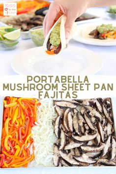 These Portabella Sheet Pan Fajitas are so delicious and they couldn't be any easier to make - just throw some Monterey Mushrooms Fajita Time! Sliced Portabellas (ad), bell peppers, and onion on a sheet pan and pop it in the oven! This is the perfect vegan/vegetarian dinner for your next Meatless Monday. Also a great option for Cinco de Mayo or a Fiesta celebration! Vegetarian Options, Vegan Vegetarian, Avocado Oil Cooking, Stuffed Mushrooms, Stuffed Peppers, Peppers And Onions, Meatless Monday, Fajitas
