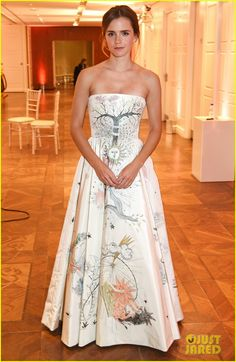"""Emma Watson at the 2017 Elle Style Awards after party, (February 13) in London, England.  The 26-year-old actress looked stunning in a Dior Haute Couture """"tarot"""" ecru silk taffeta dress with hand-painted and embroidered tarot motifs."""