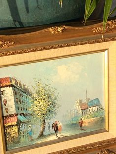 Louis Basset 60s painting. Vintage Gold Ornate Framed Oil by YellowHouseDecor