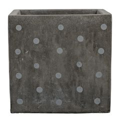 Pot de fleurs carré béton gris à pois gris clair Bloomingville