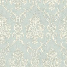 """Brewster Home Fashions Pompei Domenico 33' x 20.5"""" Damask 3D Embossed Wallpaper Color: Light Blue"""