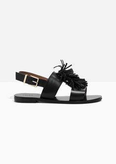 & Other Stories image 1 of Suede Tassel Leather Sandalette in Black