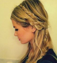 fun braids in a half-up