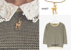 In one of her recent Instagram photos, Zoe is wearing this jumper,this collared top underneath and this fawn necklace.