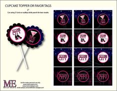 Sex and the City,  Sex and The City Tags, Sex and The City Cupcake Toppers, Sex and The City Party, Sex and The City Birthday, Party Decor