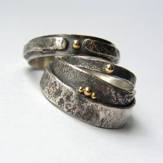 Sterling Silver Reticulated Ring with 18ct Yellow Gold by edhelien (Anna Rei)