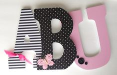 I love Pink & Black  -- Custom Wooden Letters - Nursery Bedroom Home Décor, Wall Decorations, Wood Letters, Personalized, Name, Monogram via Etsy