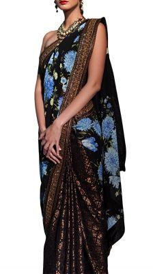 Black Floral Pallu Saree | Strandofsilk.com - Indian Designers