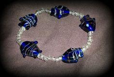 Little Blue Fish Glass Bead Bracelet by alesiawhite on Etsy, $7.00