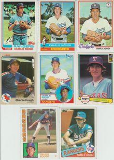 Huge 45 + different CHARLIE HOUGH cards lot 1976 - 1994 Dodgers Rangers Sox   #TexasRangers