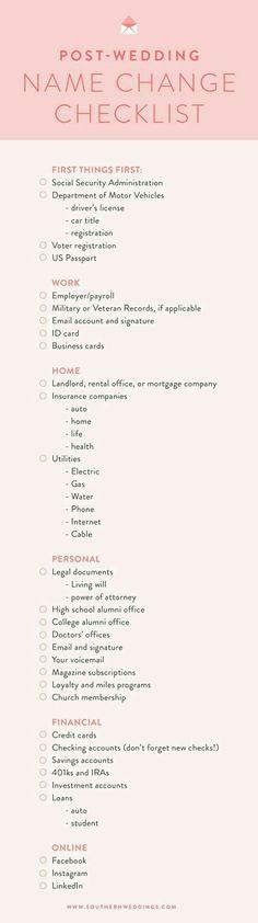 Post-Wedding Name Change Checklist. Wedding 2017, Post Wedding, Wedding Tips, Fall Wedding, Wedding Planner, Dream Wedding, Wedding Checklists, Wedding Stuff, Wedding Blog