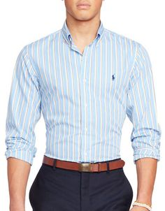 POLO RALPH LAUREN Polo Ralph Lauren Stripe Standard-Fit Poplin Sport Shirt. #poloralphlauren #cloth #