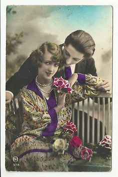 Tinted French Art Deco Postcard