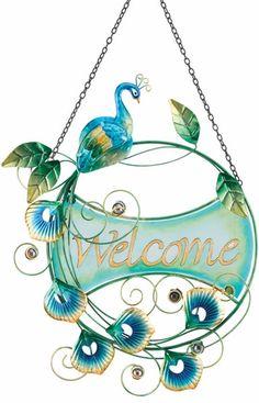 Peacock Welcome Sign only $25.99 at Garden Fun - Peacock Decor