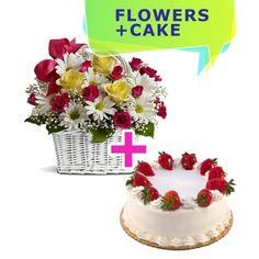 Sweet Basket is an arrangement of fresh flowers with white daisies, fuchsia and yellow roses, and a delicious cake with cream and strawberries as decorations. The basket is included.The red rose is the emblem of love, devotion and perfection of beauty.The fuchsia rose symbolizes a true and spontaneous feeling of love.