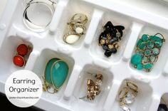 Make every earring pair easy to spot by sorting them into an ice cube tray.