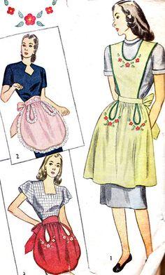 1940s Apron Pattern Simplicity 1838 Plus Size by paneenjerez, $16.00
