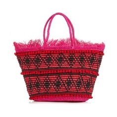 Sensi Studio Toquilla-straw frayed tote ($227) ❤ liked on Polyvore featuring bags, handbags, tote bags, pink multi, red handbags, tote purse, pink tote bag, red purse and pink handbags