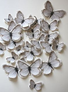 multi-layered paper butterflies wall art