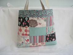 Patchwork Tote Bag Pink Cream Brown and Aqua