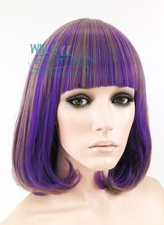 "14"" Medium Wavy Mixed Purple Fashion Synthetic Hair Wig MY009 - Wig Is Fashion"