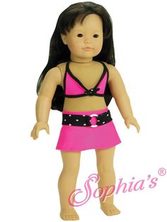 Hot Pink and Black Swimsuit Outfit - clothes for American Girl® and other 18 inch dolls - swimwear, bikini, sunglasses, swim skirt