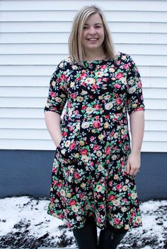 Asta Jersey dress PDF sewing pattern for women boat neck and elbow length sleeve summer floral. Womens Jersey dress PDF sewing pattern size 0-16 / 30-46