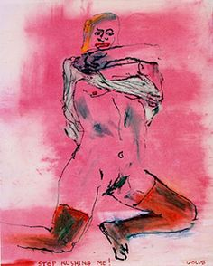Leon Golub, Stop Rushing Me!, 2003, oil stick and ink on vellum, 10 x 8 inches.