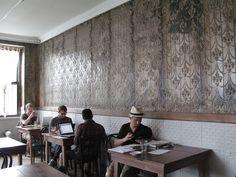 Stamped tin walls, fleur de lis motif, at Four and Twenty Blackbirds in Brooklyn.