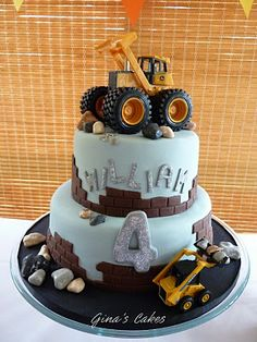 We celebrated my sons fourth birthday yesterday with a construction themed party. He had a two tiered chocolate mud cake topped with a . Sweet Cakes, Cute Cakes, Beautiful Cakes, Amazing Cakes, Dessert, Chocolate Mud Cake, Cakes For Boys, Cake Toppings, Party Cakes