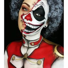 """[ Halloween Makeup : Illustration Description """" Twisted Ringmaster This is my entry to ! ❤❤ Thought I dont get it in time, but yeahhhh, I Costume Halloween, Halloween Circus, Creepy Costumes, Halloween Makeup Looks, Scary Halloween, Creepy Makeup, Clown Makeup, Costume Makeup, Makeup Art"""