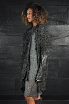 Alessandra Marchi – Leather Sleeves Cardigan | -PNP, fashion stores in Florence | -PNP, fashion stores in Florence