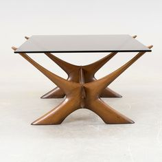 Fredrik Schriever-Abeln; Stained Beech and Glass Coffee Table for Örebro, 1960s.