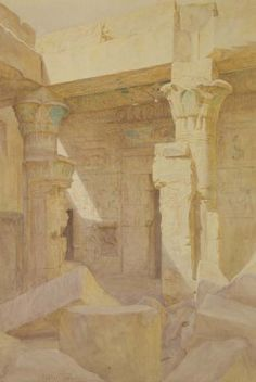 Walter Frederick Roofe Tyndale (British, circa 1859-1943)  Temple of Des El Medinet at Thebes  signed 'Walter Tyndale' (lower left)  pencil, pen, brown ink and watercolor on paper  18 x 13 in. (45.7 x 33 cm.)  I Christie's Sale 1774