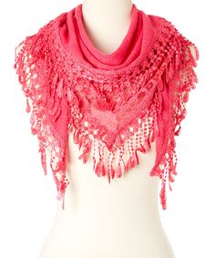 Look what I found on #zulily! Pink Crochet Drop Scarf by modern centers trade #zulilyfinds